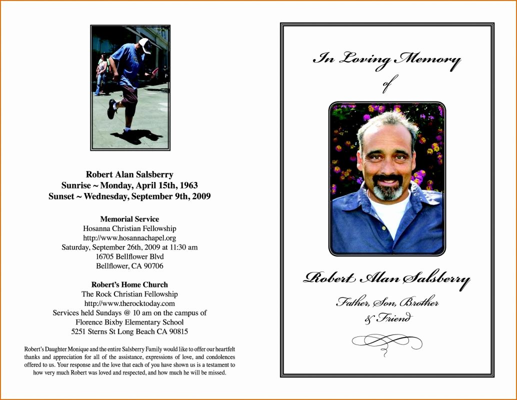 Memorial Program Template Free Unique Funeral order Service Template