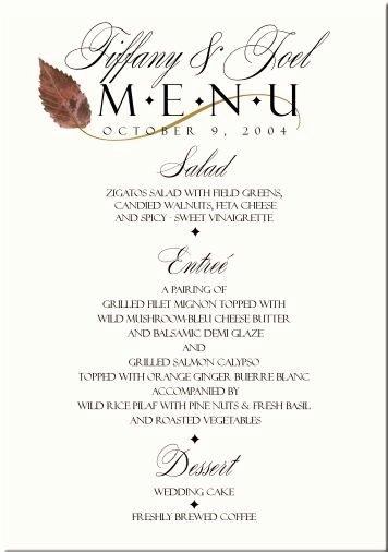 Menu Card for Buffet Wedding Awesome Fall Wedding Menu Cards Wedding Menus