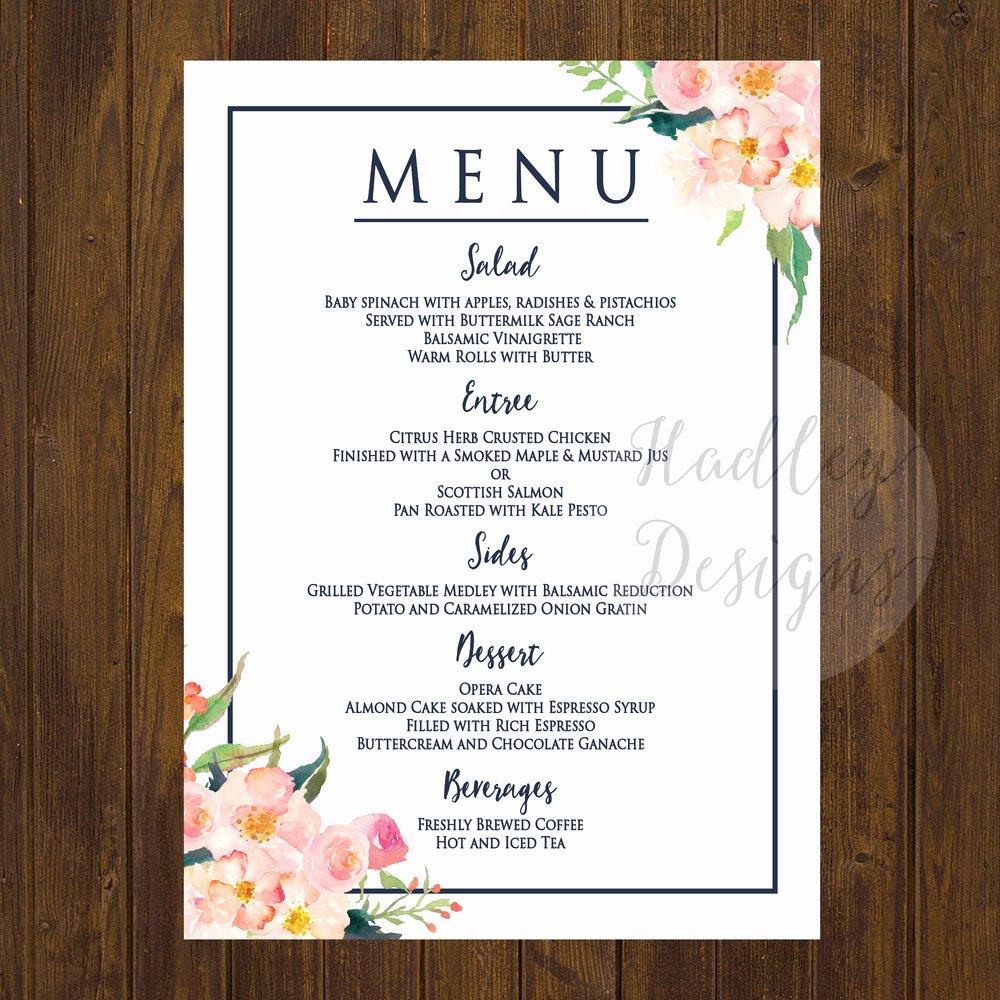 Menu Card for Buffet Wedding Awesome Hadley Designs Menus