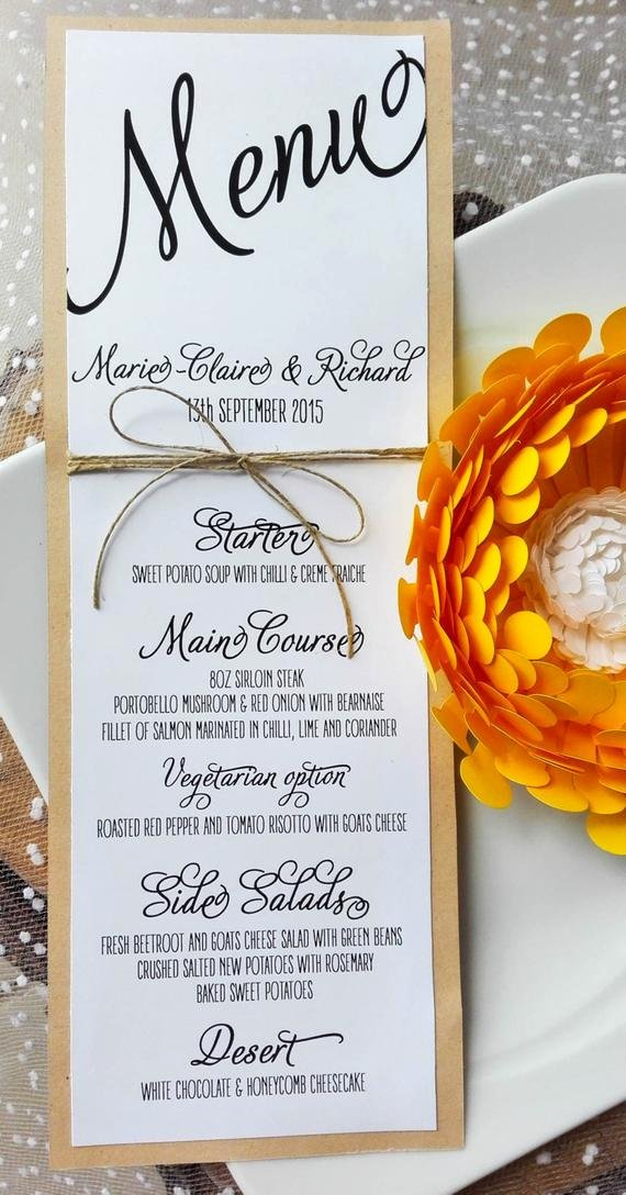 Menu Card for Buffet Wedding Awesome Items Similar to Wedding Menu Card Rustic Kraft Wedding