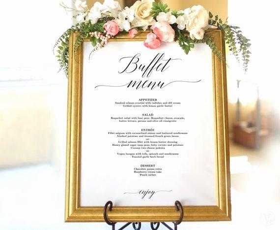 Menu Card for Buffet Wedding Awesome Wedding Buffet Menu Sign Printable Wedding Menu Template
