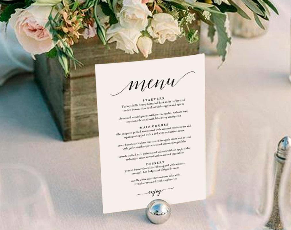 Menu Card for Buffet Wedding Beautiful Wedding Menu Template Wedding Menu Printable Wedding