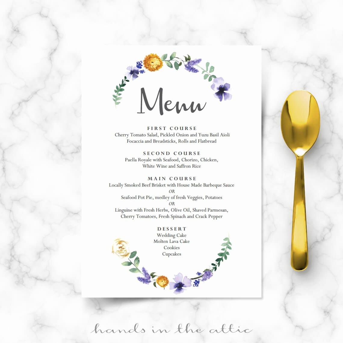 Menu Card for Buffet Wedding Best Of Purple Floral Wedding Buffet Menu Template