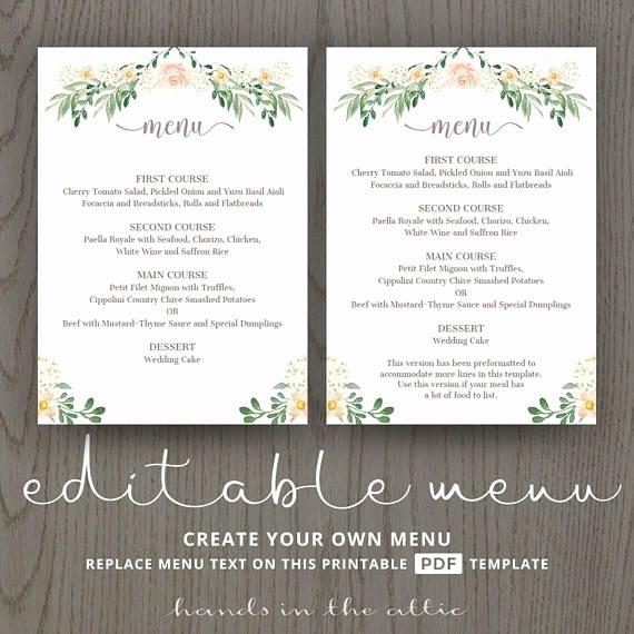 Menu Card for Buffet Wedding Elegant Rustic Wedding Menu Rehearsal Dinner Menu Template Sit