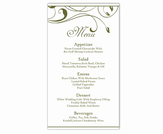 Menu Card for Buffet Wedding Lovely Wedding Menu Template Diy Menu Card Template Editable Text