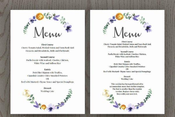Menu Card for Buffet Wedding Luxury 22 Wedding Menu Templates
