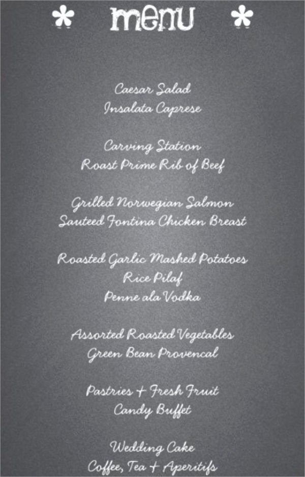 Menu Card for Buffet Wedding Luxury 41 Wedding Menu Sample Designs & Templates Psd Ai