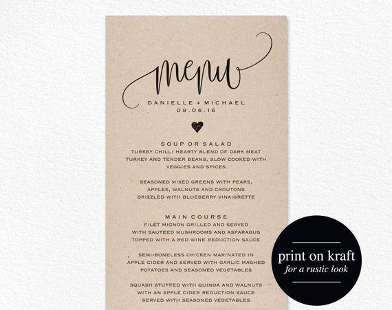 Menu Card for Buffet Wedding New Rustic Wedding Menu Wedding Menu Template Menu Cards Menu