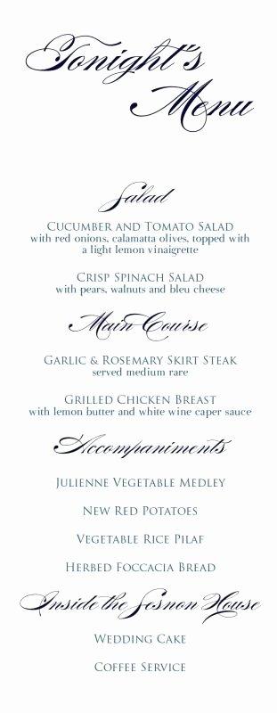 Menu Card for Buffet Wedding New Wedding Buffet Menu Card Samples