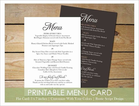Menu Card for Buffet Wedding Unique Wedding Menu Templates