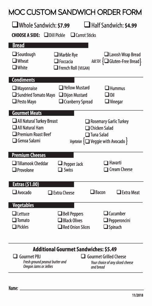 Menu order form Template Best Of Market Custom Sandwich order form