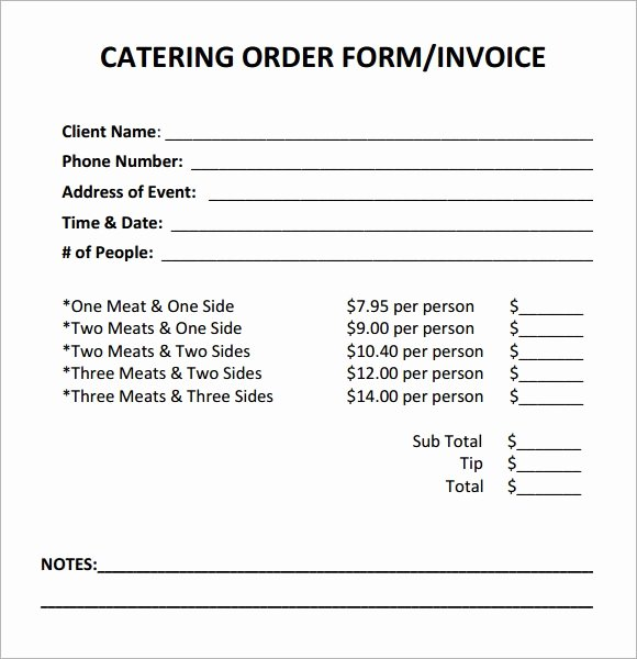 Menu order form Template New Catering Invoice Sample 17 Documents In Pdf Word