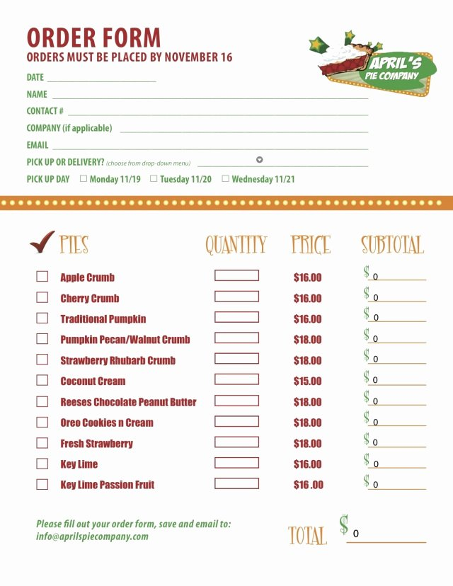 Menu order form Template Unique Part 2 Of A Custom Menu order form We Created for
