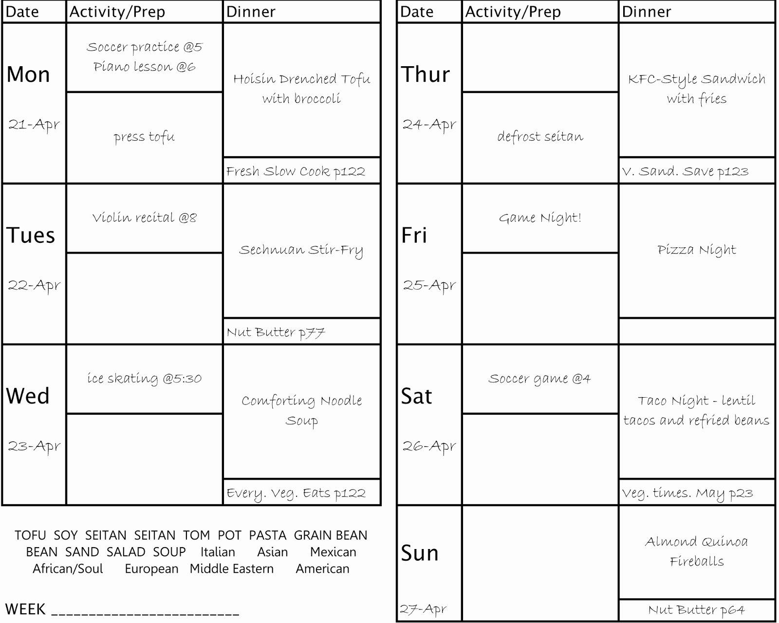Menu Planner Template Excel Best Of 2 3 Menu Planning Template