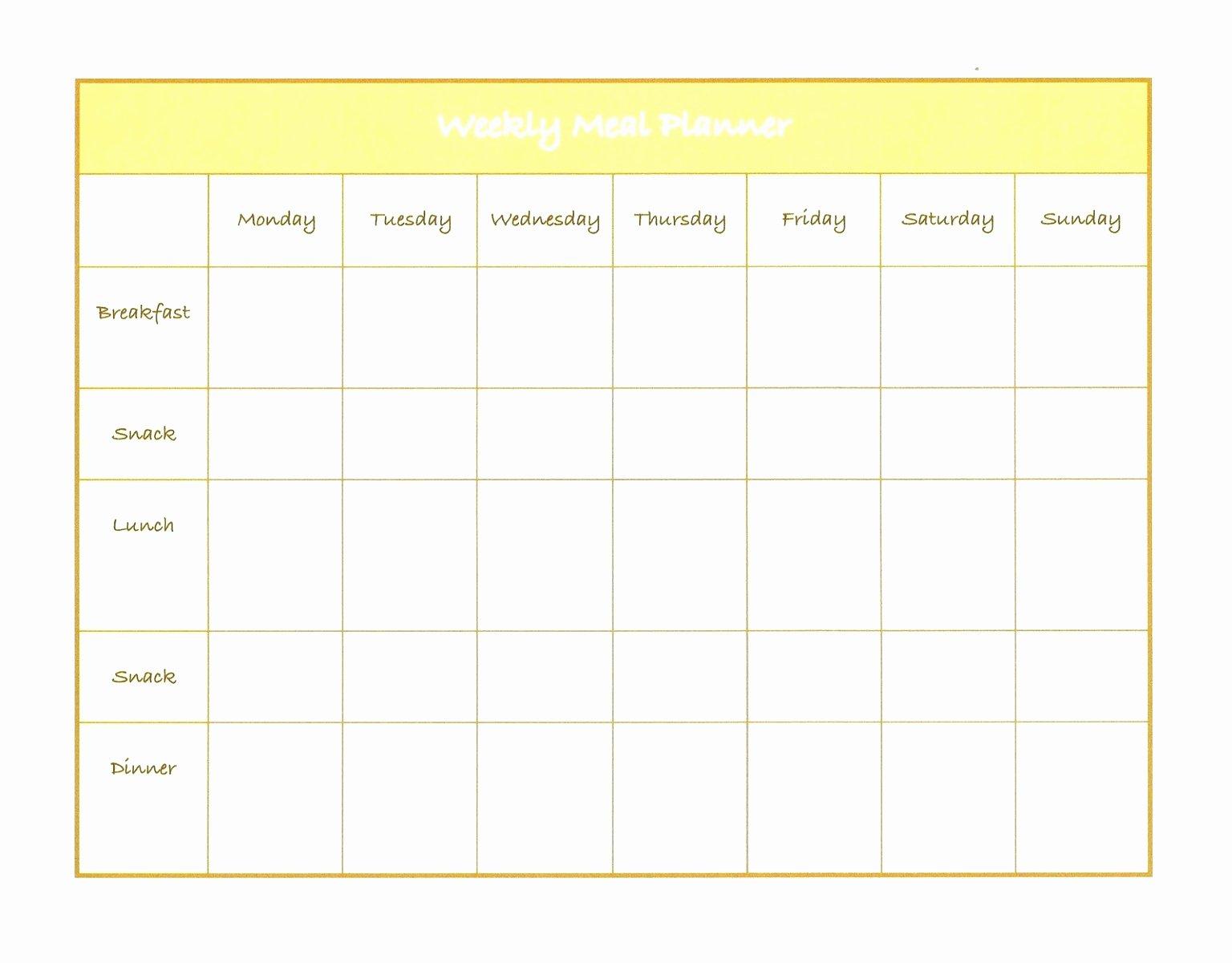 Menu Planner Template Excel Elegant 5 Weekly Diet Plan Template Uieoe