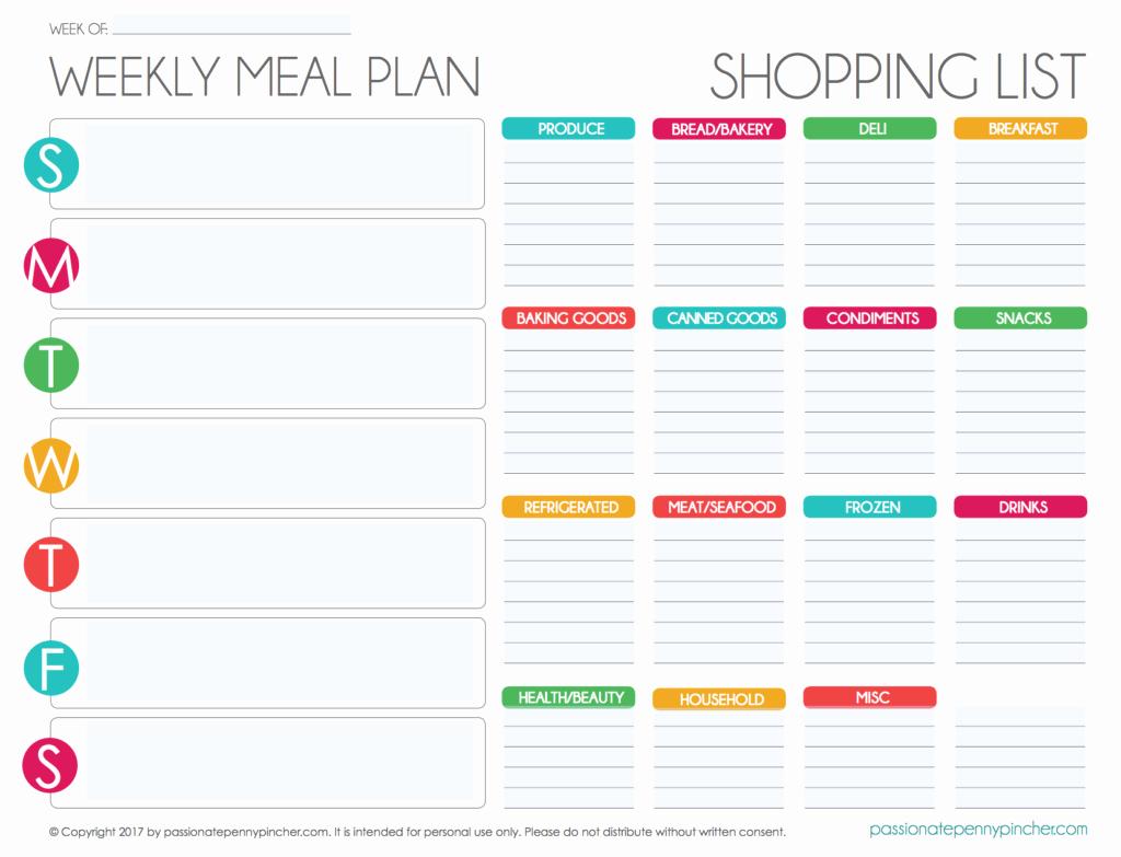 Menu Planner Template Excel Elegant Free Editable Menu Plan and Grocery List
