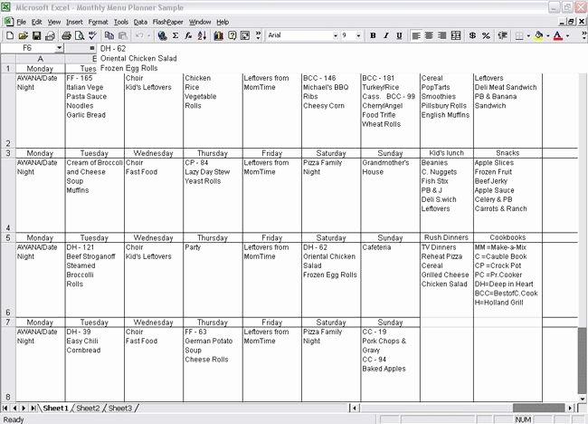 Menu Planner Template Excel Elegant Monthly Menu Planner Template Excel