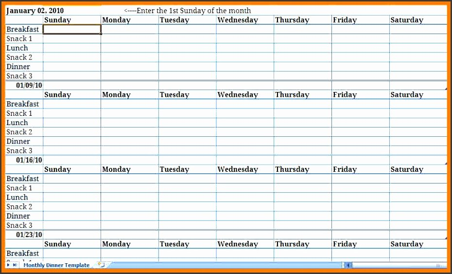 Menu Planner Template Excel Inspirational Monthly Meal Plan Excel Template Archives