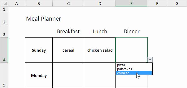 Menu Planner Template Excel Lovely Meal Planner Template In Excel Easy Excel Tutorial