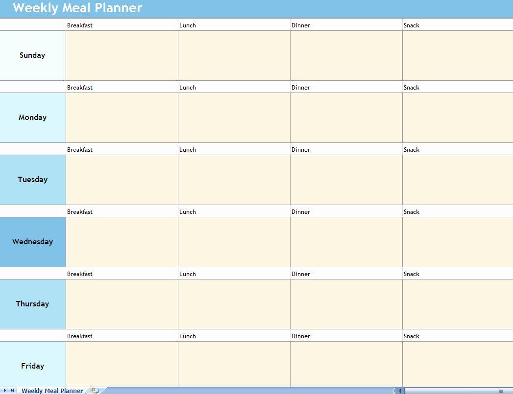 Menu Planner Template Excel Lovely Weekly Meal Planner Excel Spreadsheet