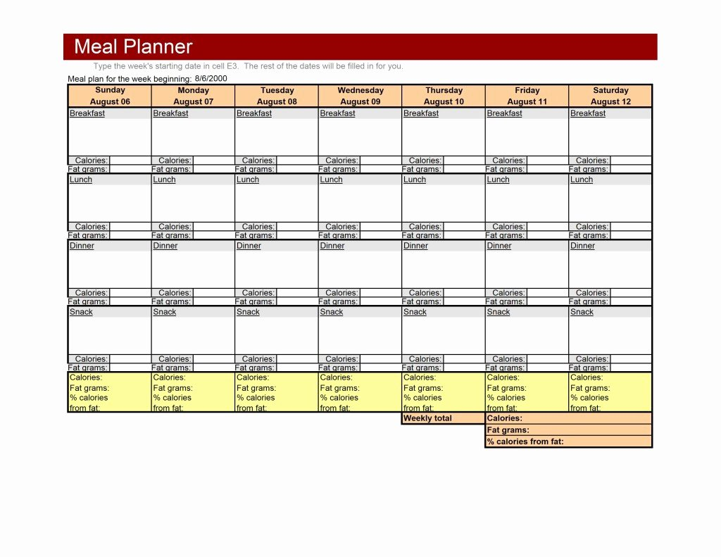 Menu Planner Template Excel Lovely Weekly Meal Planner Template
