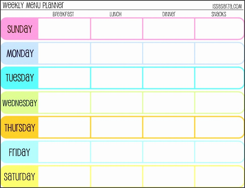 Menu Planner Template Excel Unique 9 Free Weekly Meal Planner Layout In Excel format