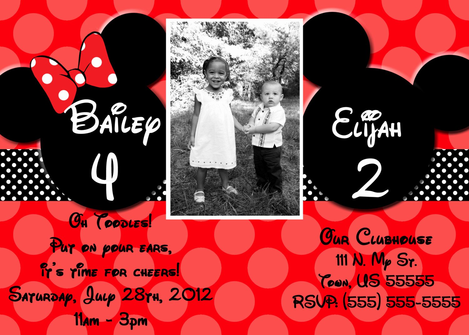 Mickey and Minnie Mouse Invitations Awesome Free Minnie and Mickey Birthday Invitations Printable