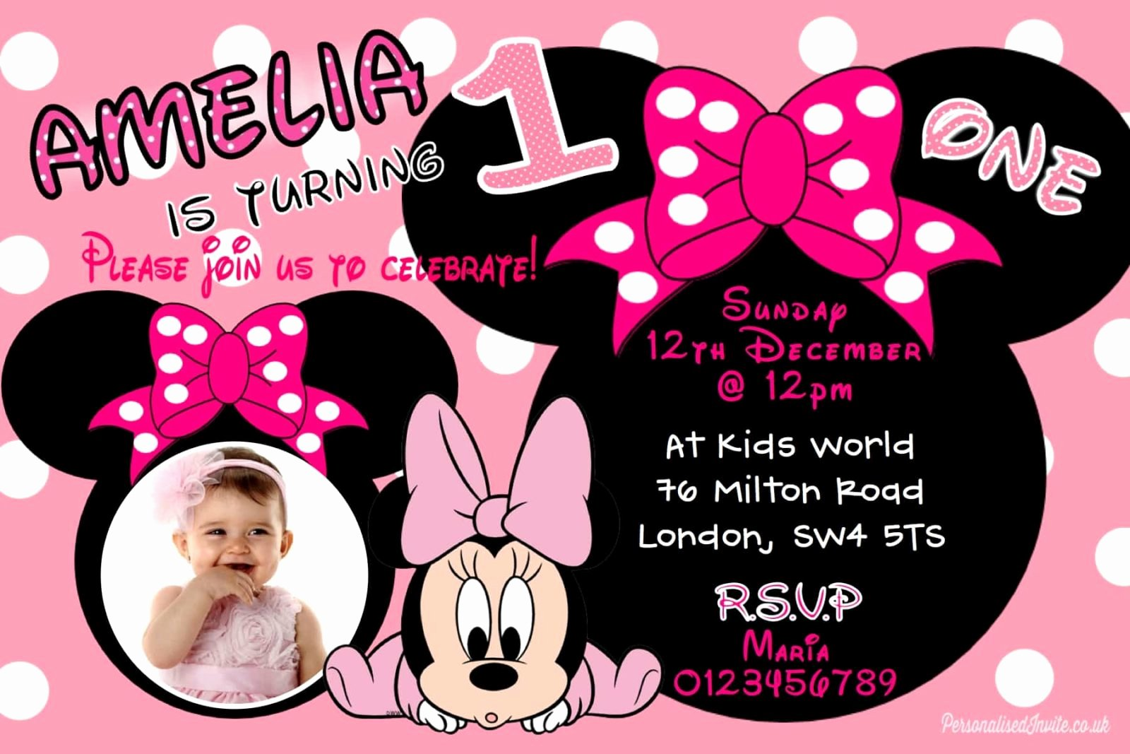 Mickey and Minnie Mouse Invitations Elegant 10 Personalised Minnie Mouse Baby Birthday Party