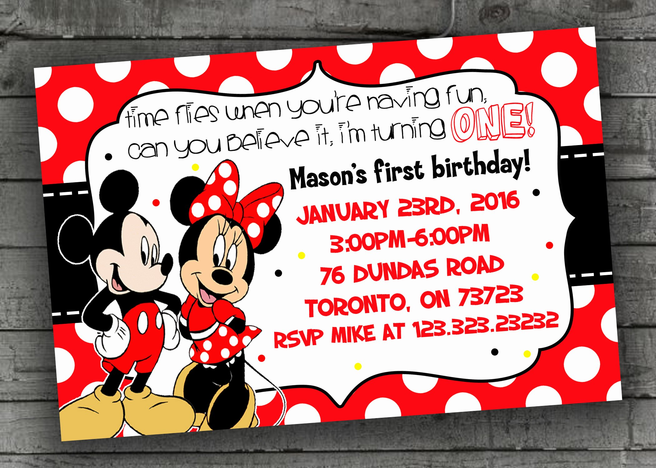 Mickey and Minnie Mouse Invitations Fresh Mickey & Minnie Mouse Party Invitations Kids Party