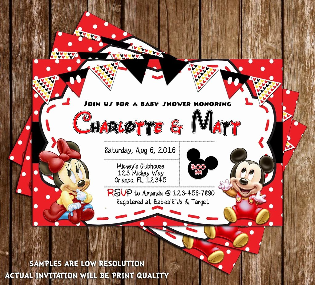 Mickey and Minnie Mouse Invitations Fresh Novel Concept Designs Baby Mickey & Minnie Mouse Baby