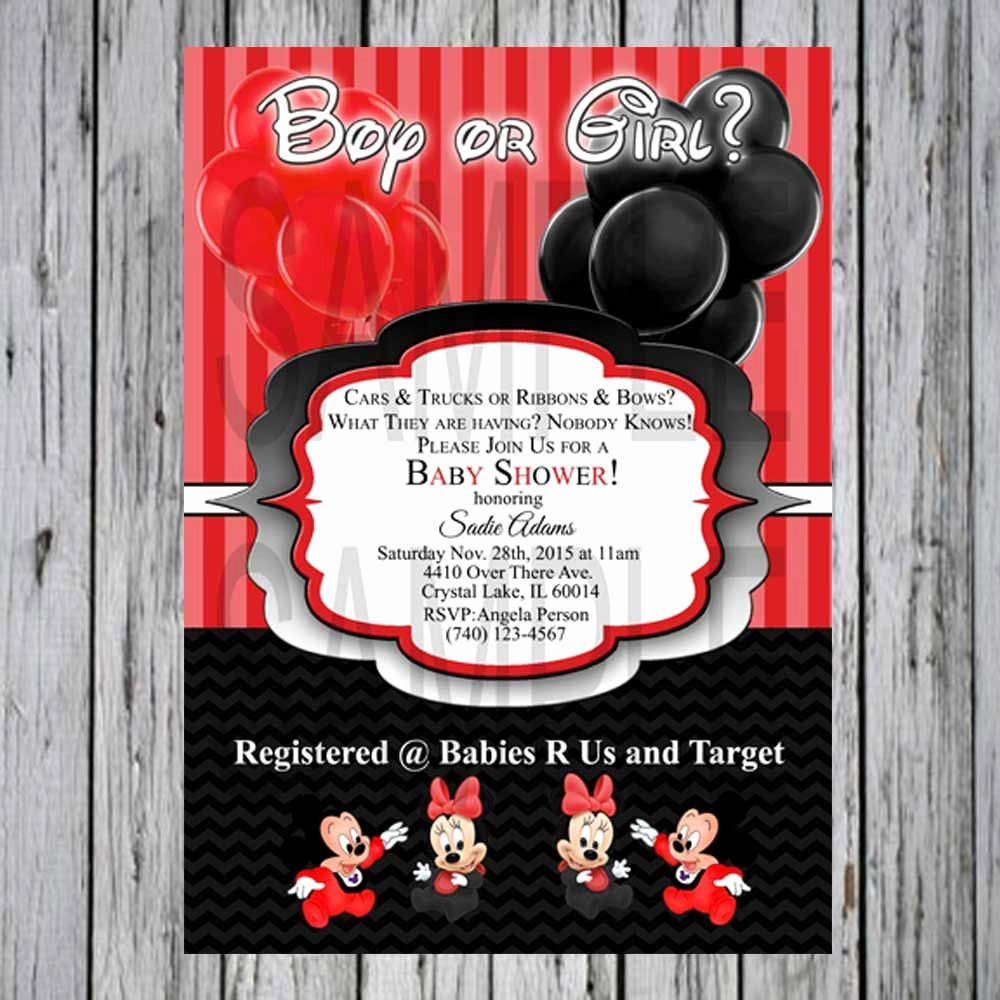 Mickey and Minnie Mouse Invitations Lovely Baby Shower Invite Gender Reveal Mickey Minnie Mouse Red