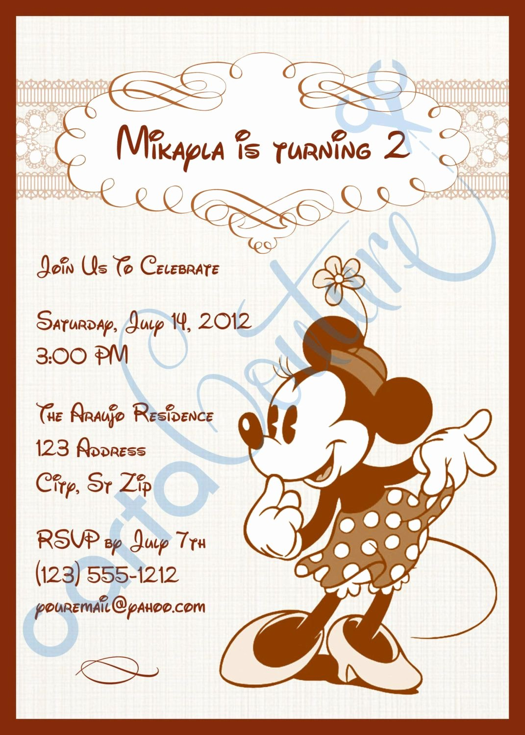 Mickey and Minnie Mouse Invitations Lovely Disney Vintage Mickey Mouse or Vintage Minnie Mouse Diy