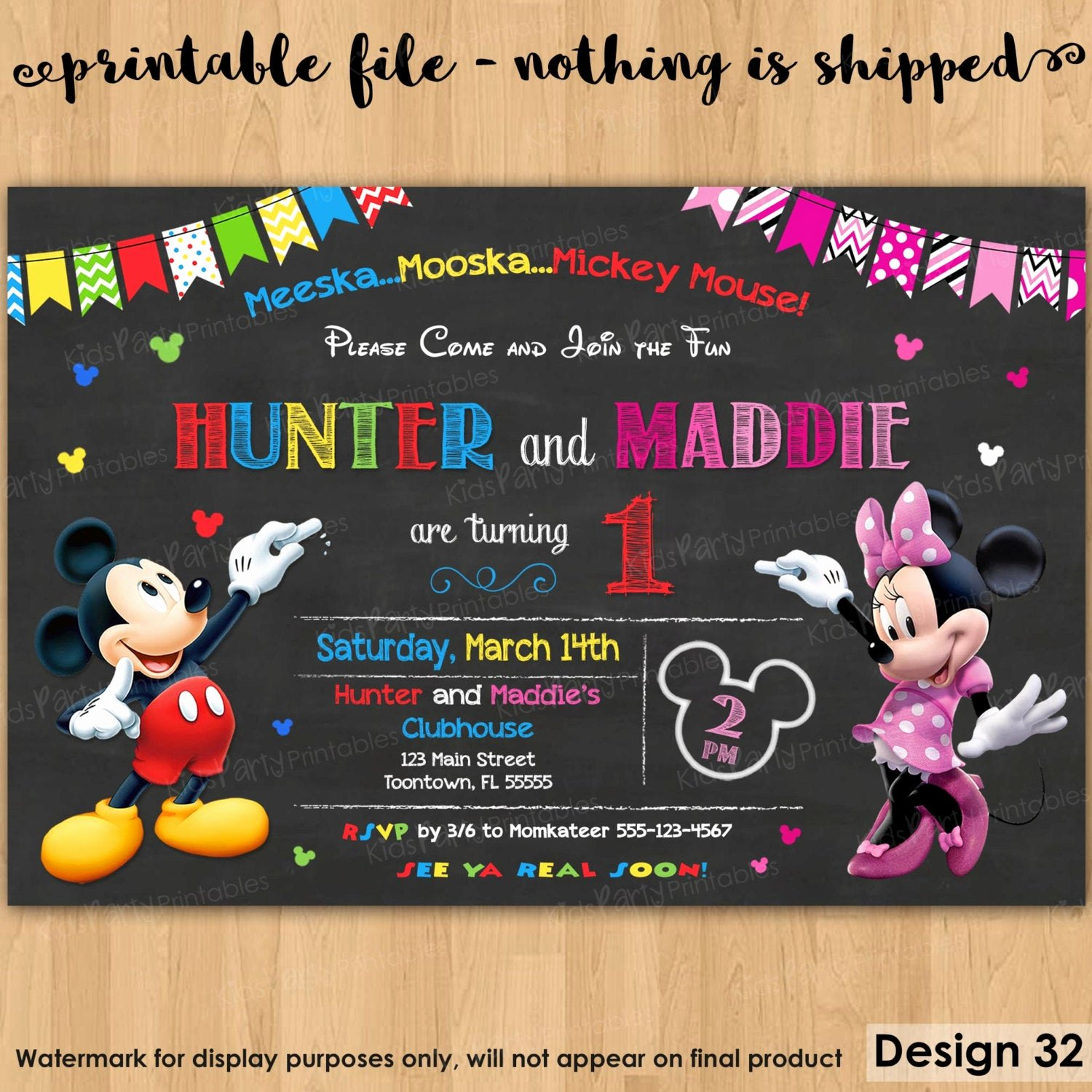 mickey and minnie invitation printable