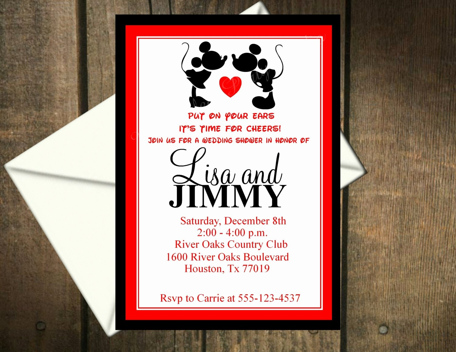 Mickey and Minnie Mouse Invitations Lovely Mickey Mouse & Minnie Mouse Wedding Shower Invitation