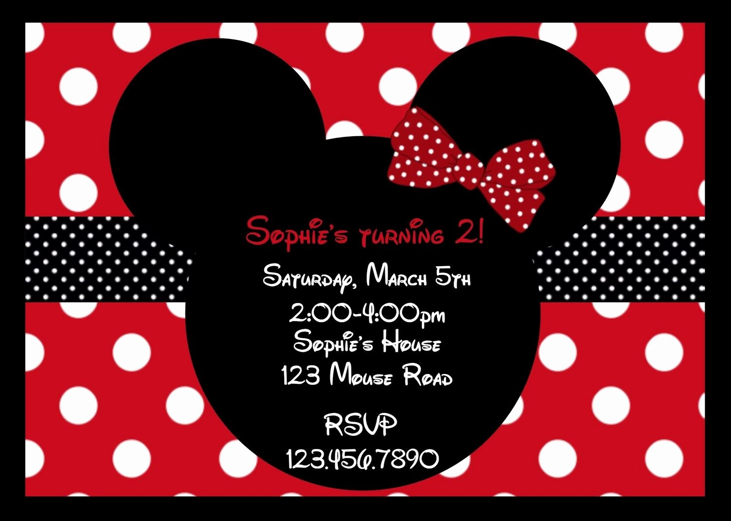 Mickey and Minnie Mouse Invitations Lovely Mouse Ears Red Birthday Invitation