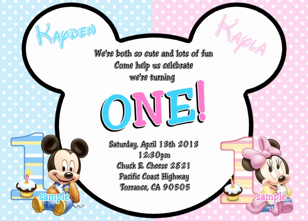 Mickey and Minnie Mouse Invitations Luxury Mickey Mouse Minnie Mouse Baby Invitation