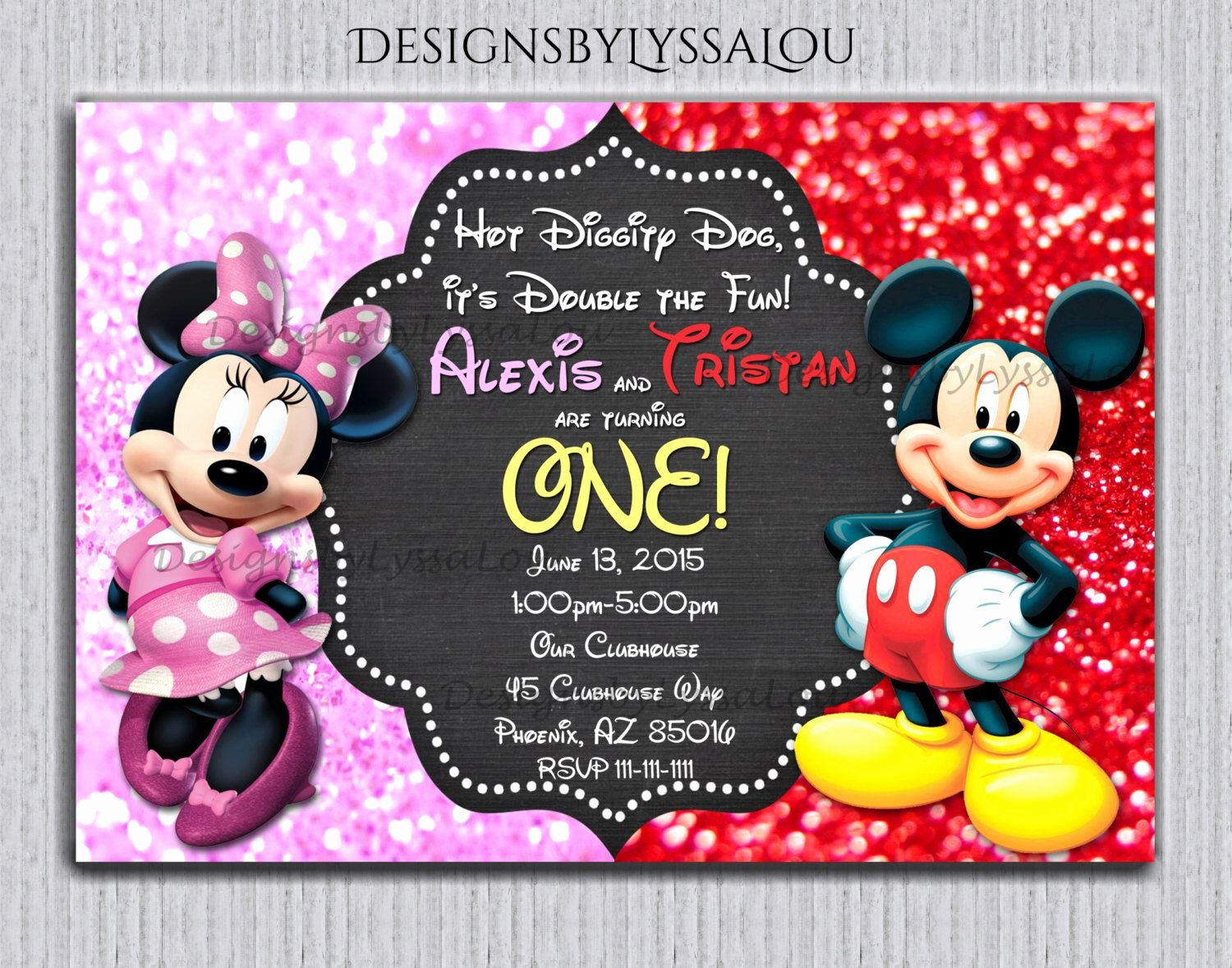 Mickey and Minnie Mouse Invitations Luxury Pin by Anna Phillips On Twins Birthday Number 3