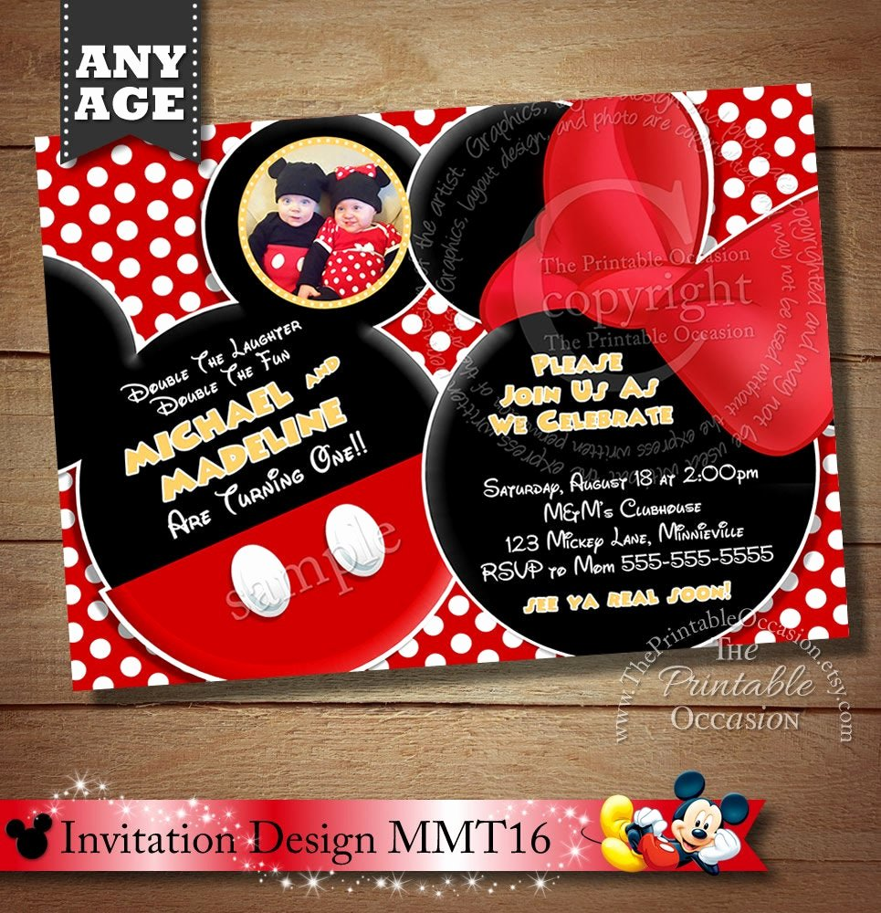 Mickey and Minnie Mouse Invitations Unique You Choose Mickey Mouse Invitation for Twins Minnie Mouse
