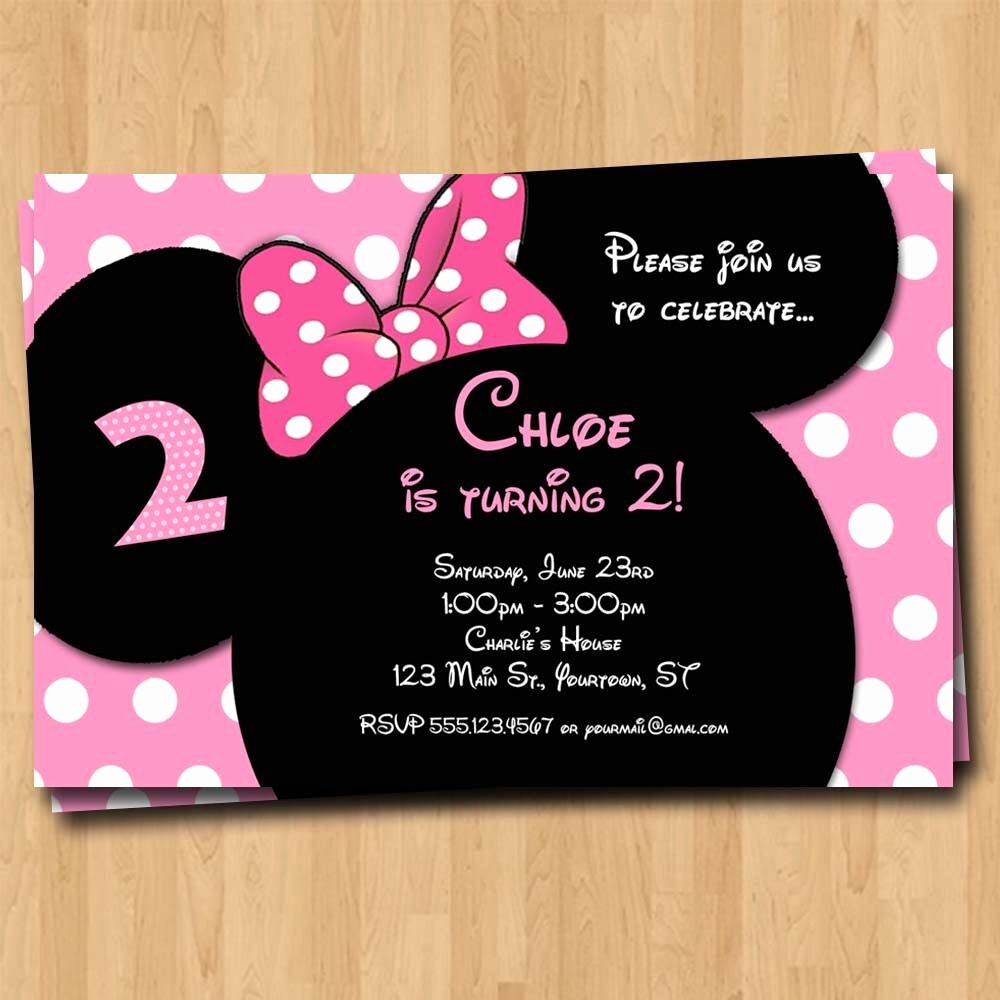Mickey and Minnie Party Invitations Awesome Minnie Mouse Birthday Invitation Party Invites Custom
