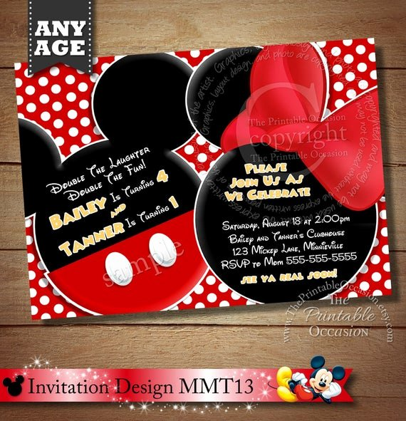 Mickey and Minnie Party Invitations Beautiful Huge Selection Mickey Mouse Invitation for Twins Minnie