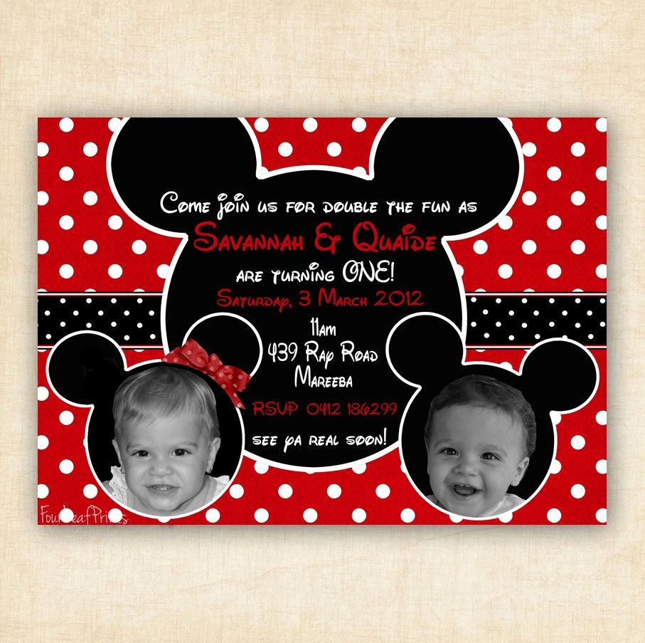 Mickey and Minnie Party Invitations Beautiful Mickey and Minnie Mouse Twin Birthday Party Invitation