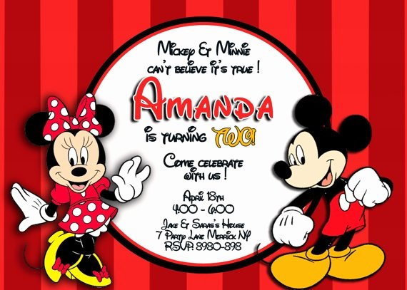 Mickey and Minnie Party Invitations Best Of Disney Micky & Minnie Mouse Invitation Twins by