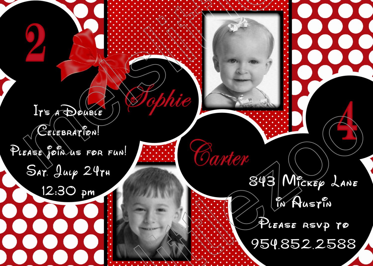 Mickey and Minnie Party Invitations Best Of Red and White Polka Dots Twin Minnie Mickey Mouse Digital