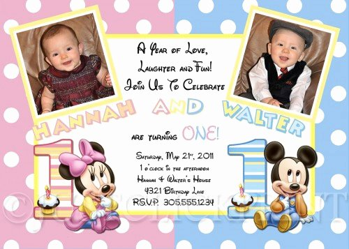 Mickey and Minnie Party Invitations Best Of Twins Baby Mickey and Minnie Mouse First Birthday