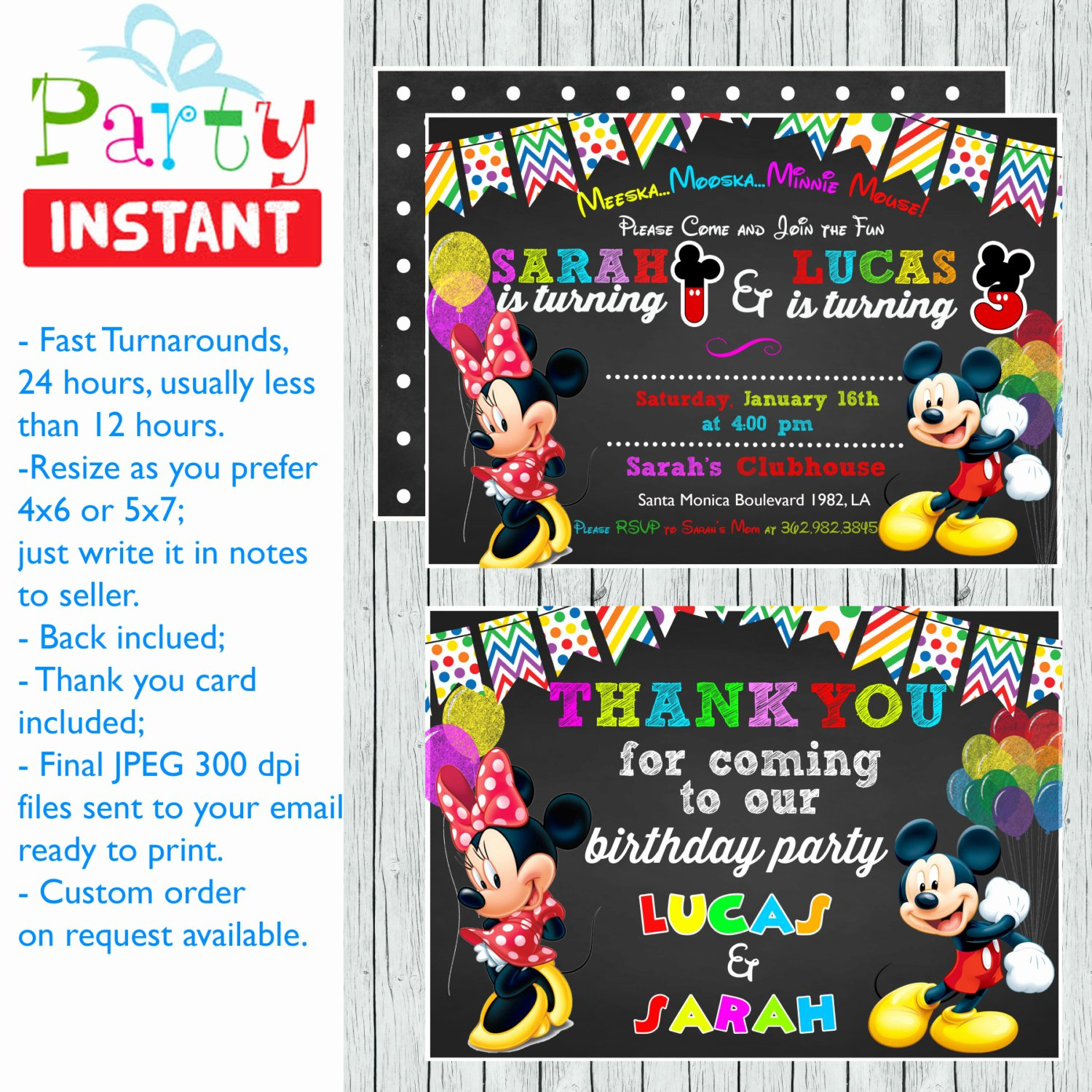 Mickey and Minnie Party Invitations Elegant Double Mickey Minnie Printable Birthday Party Invitations
