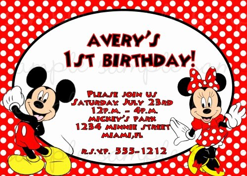 mickey and minnie twin birthday invitations
