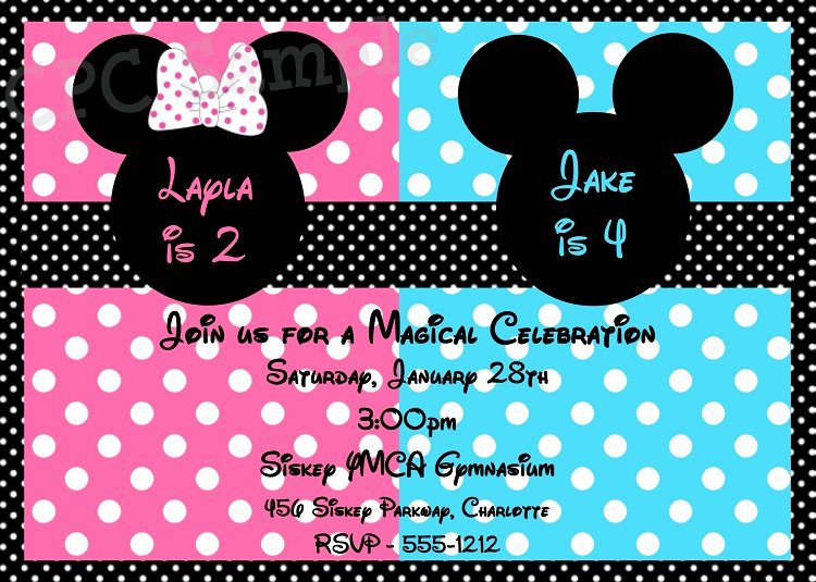 Mickey and Minnie Party Invitations Fresh Free Printable Mickey and Minnie Twin Birthday Invitations