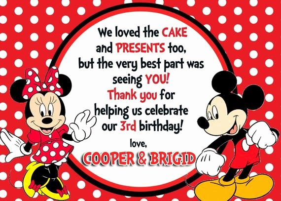 Mickey and Minnie Party Invitations Lovely Custom Photo Invitations Mickey & Minnie Mouse Birthday Thank