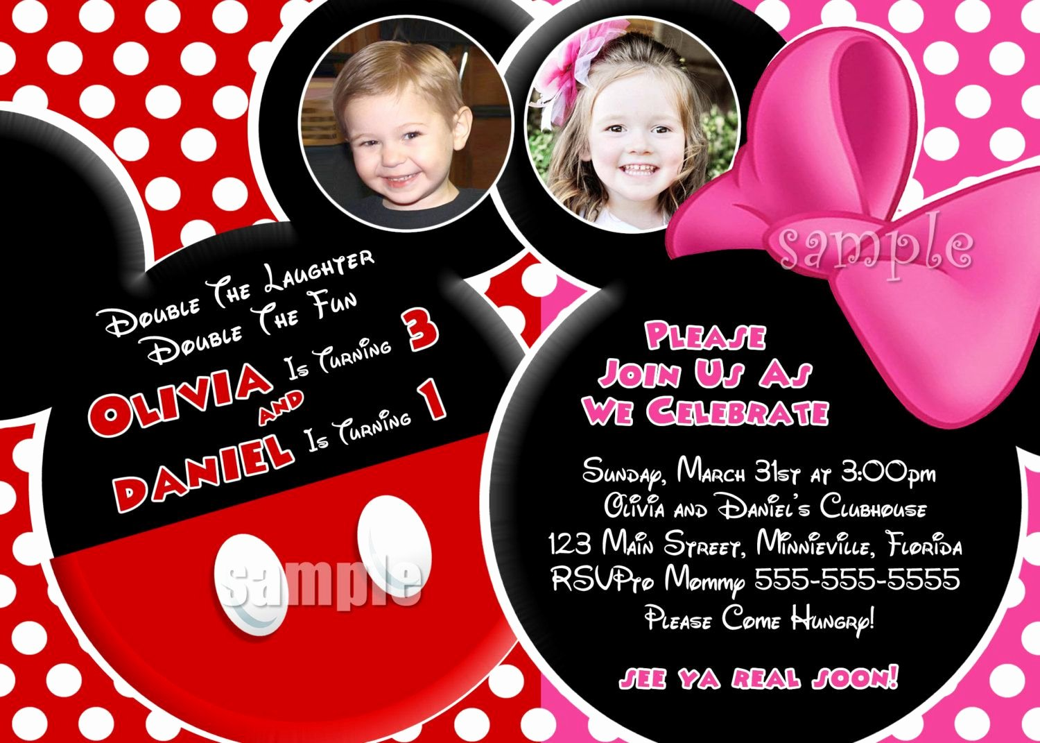 Mickey and Minnie Party Invitations Lovely Mickey and Minnie Mouse Birthday Invitation Template