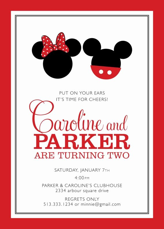 Mickey and Minnie Party Invitations Lovely Mickey Invite Party Things